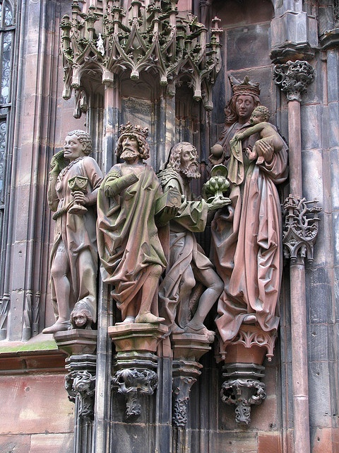 Sculptures: The three Wise Men, The Virgin Mary and the baby Jesus, cathedral of Strasbourg, France