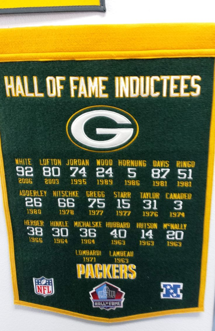 Memorablia Monday: Nov. 10, 2014 - Last night the Packers crushed the Bears 55-14, & Aaron Rodgers tied the NFL record for most TD passes in one half with his 6 scoring throws. Here's a banner celebrating the Packers' Hall of Fame inductees.