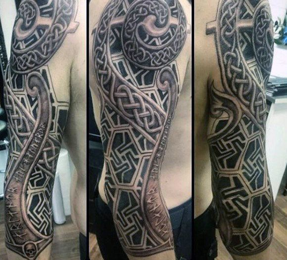 Cool Masculine Male Celtic Full Sleeve Tattoo Ideas