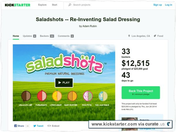 via @Kickcast: A project that might convince Ktdata to start smoking, a way to get the perfect tie length and it's time to take shots… of salad! Our kickstarter: https://www.kickstarter.com/projects/984793681/saladshots-re-inventing-salad-dressing