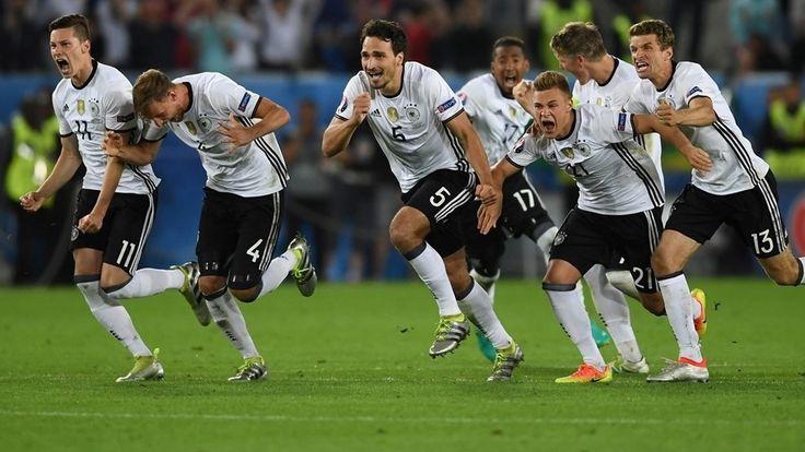 Jerman masuk ke semi final setelah menang adu penalti 8 kali tembak versus Italia, akan bertemu dengan Francis atau Islandia di semi final.