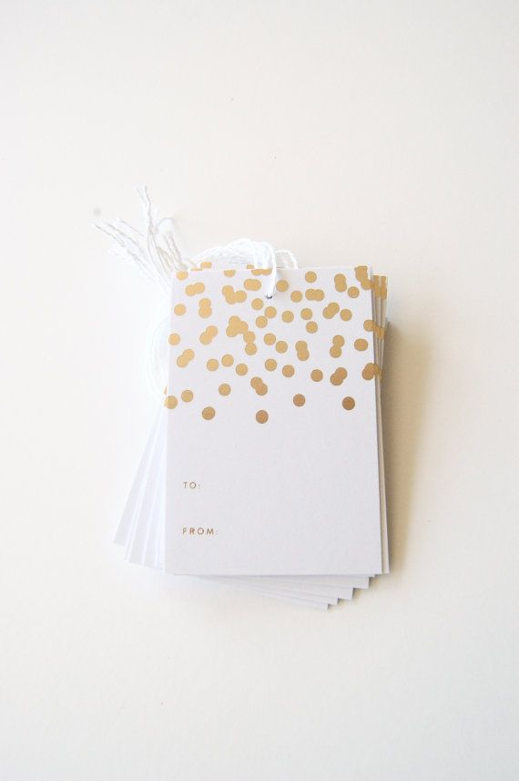 Gold Foil Gift Tags  Confetti Set of 10 by inhauspress on Etsy, $10.00