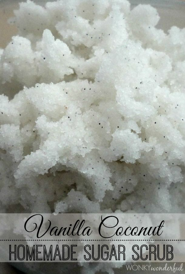 Easy Homemade Body Scrub: Vanilla Coconut - Sugar Scrub is the perfect last minute homemade gift idea! wonkywonderful.com