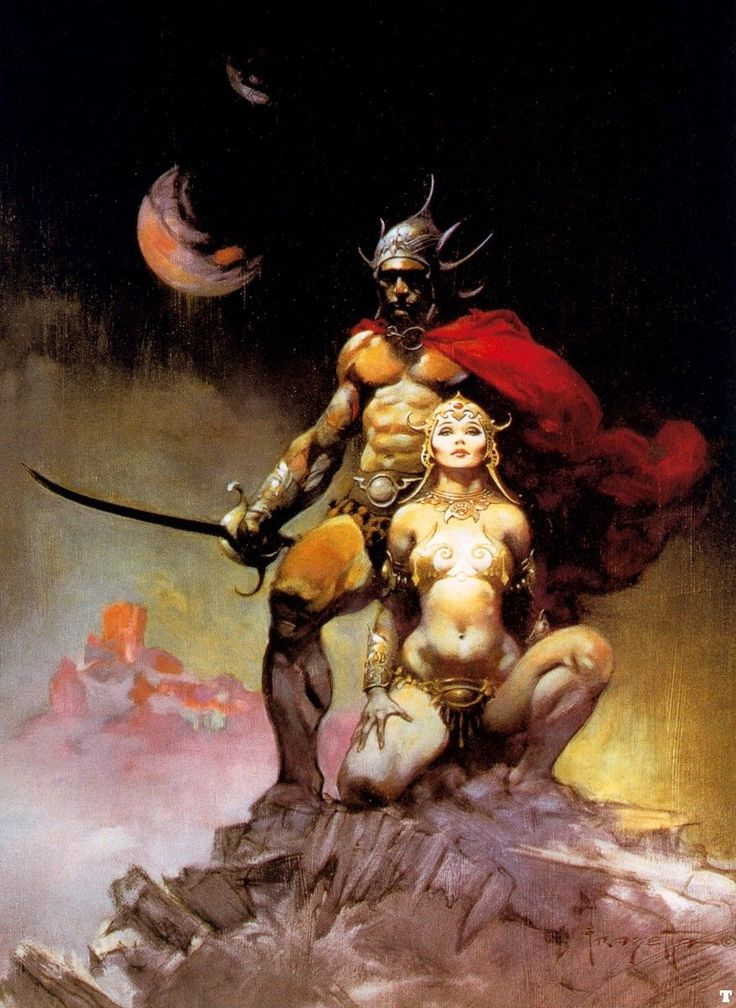 A Fighting Man of Mars (1973) by Frank Frazetta Frank Frazetta is another of my favourites. The anatomy and the way he tweaks it is always amazing to see. Here we can see the typical cover style painting. The strong msucular man with the strong pose and sword, along with the also quite muscular woman by his side. (museumsyndicate, 2012)
