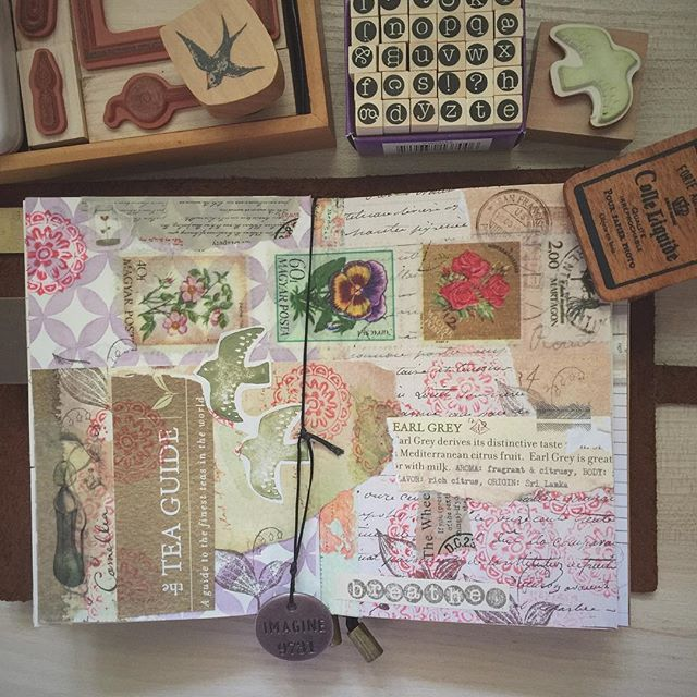 Collage created mainly with a....coffee bean & tea leaf pamphlet! ☕️ Collage will always be my favourite form of artistic expression as you don't need any special skills or equipment. Anything goes! The act of tearing paper & sticking it down in pleasing arrangements has always felt very therapeutic for me  #midoritravelersnotebook #travelersnotebook #mtn #tn #journal #journaling #artjournal #collage #art #mixedmedia #stationary #stationaryaddict #smashbook #loveforanalogue #papercraft #v...