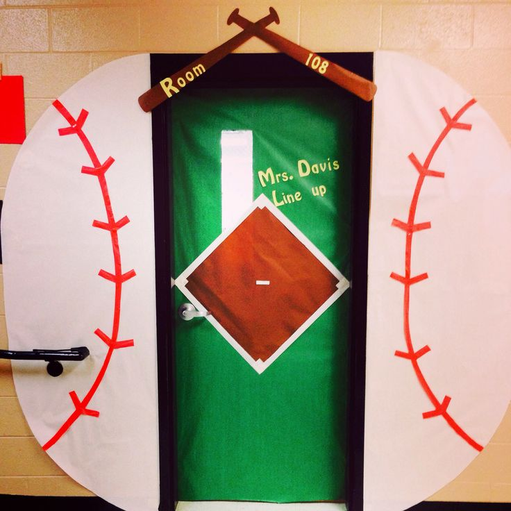 Classroom Door Decoration Spring ~ Baseball themed classroom door sport team school theme