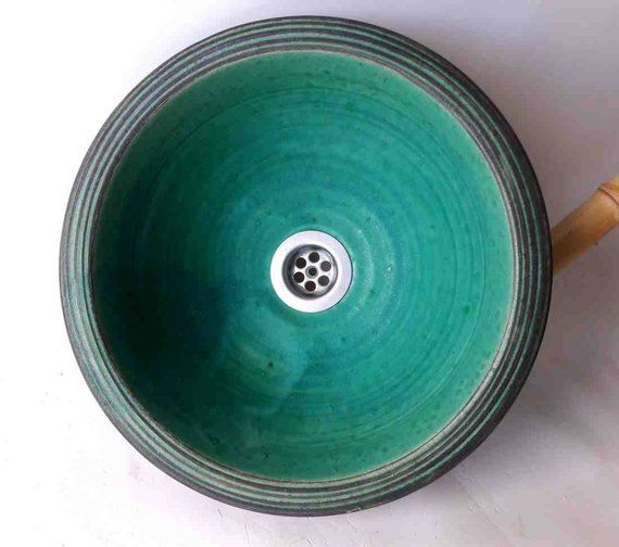 Wash Basin Turquoise O 29 5 Cm Height 11 Cm Mit Bildern Waschbecken Holzplatte Rustikal