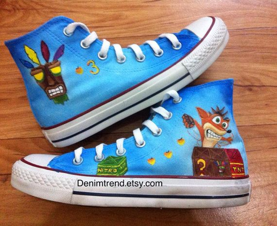 Crash Bandicoot Converse Shoes by denimtrend on Etsy, $80.00