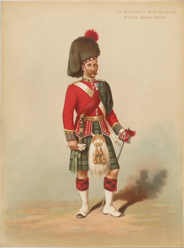 British; The Black Watch, Royal Highlanders, Officer , Review order, by Auguste Legras 1875. The colours of this painting have not stood the test of time and the Blue facings have taken on a distinct green tinge.