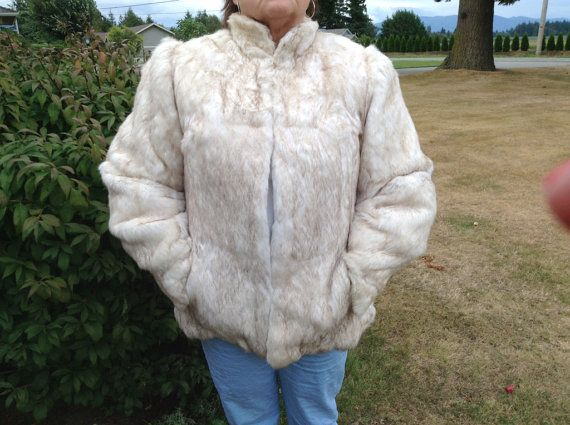 70s Rabbit Jacket // Hipster white fur jacket //  Winter small coat //  Cheap Vintage Fashion on Etsy, $289.50