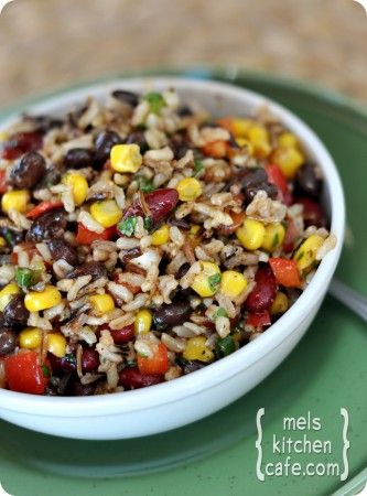 confetti rice and bean salad..could be a side, used as a dip for chips, or inside a tortillaCold Rice Salad Recipe, Black Beans, Vegan Red Beans And Rice, Mel Kitchens, Beans Salad, Confetti Rice, Bean Salads, Kitchens Cafes, Rice And Beans