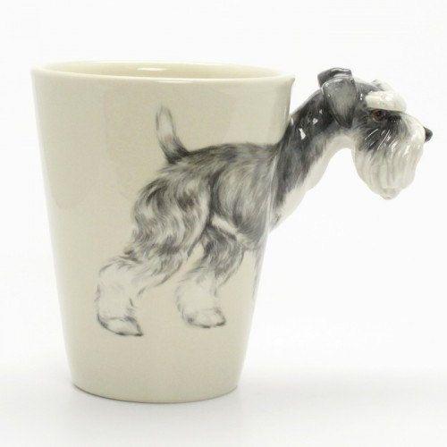 Schnauzer Ceramic Coffee Mug a unique gift for pet lover. $55.00, via Etsy.
