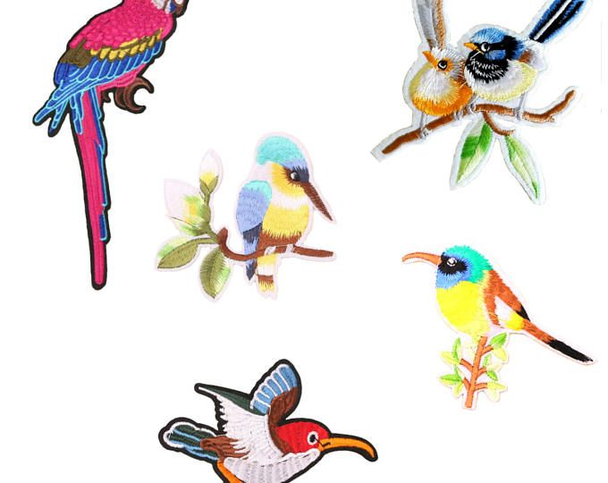 Bird Patch Embroidery Applique Iron On Patch Set Animal Patch Clothes Decoration Hot Fix Fashion Craft Diy Accessory Sew On Patch 1PCS/Mix