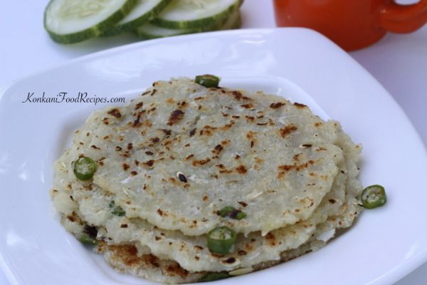 Semolina, cucumber pancakes. They smell & taste heavenly, full of cucumber flavour & taste. These dosas can be made thick and soft or can be made thin & crispy while you shallow fry them. They can be had as-is or with a spicy pickle for breakfast. We even make sweet versions of these dosas. In Konkani they are called thoushe dodaka, thoushe bakri, thoushe rotti.