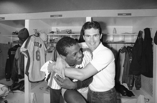 Pitcher Dwight Gooden and catcher Mike Fitzgerald of the New York Mets.