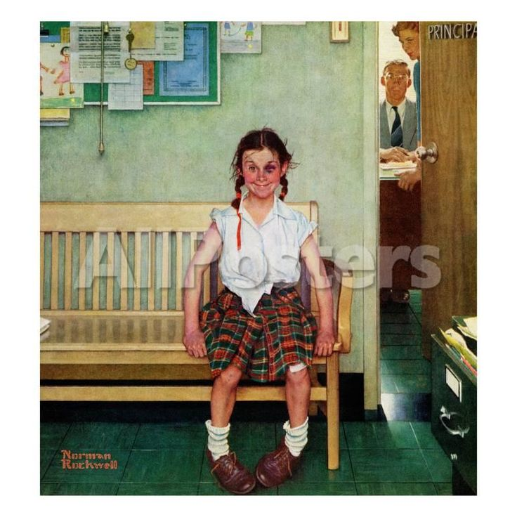 """Shiner"" or ""Outside the Principal's Office"", May 23,1953 Reproduction procédé giclée par Norman Rockwell sur AllPosters.fr"