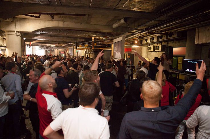 Everybody getting involved with the Karaoke at Twickenham Stadium at the  England v Wales Match