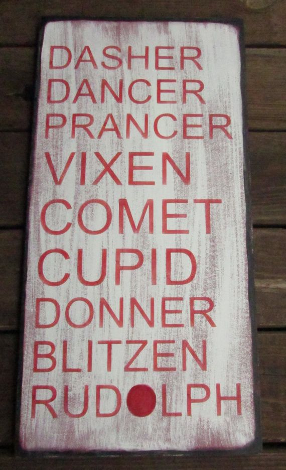 This primitive Christmas sign has the name of the reindeer. Looks great with…