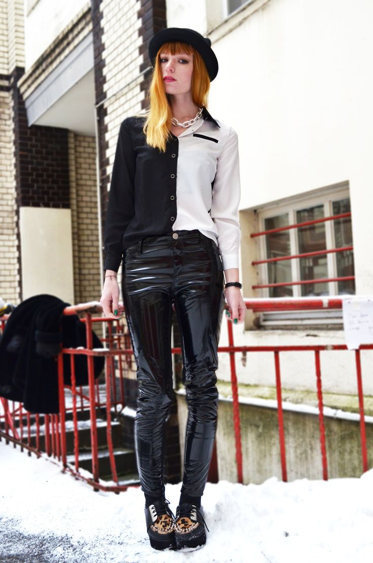 Black+white blouse, patent leather pants