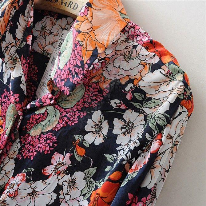 SZ060, новинка 2015, женские блузки, для весны и лета, ретро стиль, цветочный узор, рубашка, длинный рукав, модные, шифон, топы, Blusas Femininas S&Z купить на AliExpress