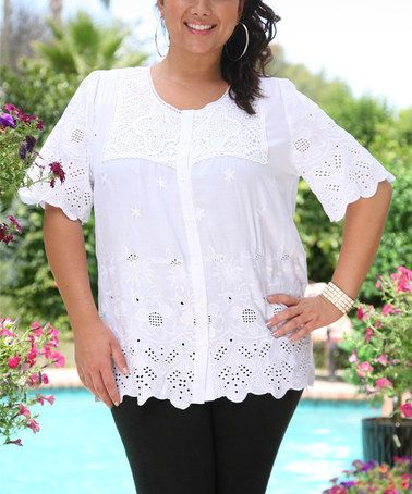 Look at this #zulilyfind! White Floral Cutout Button-Up Tunic - Plus by Ananda's Collection #zulilyfinds