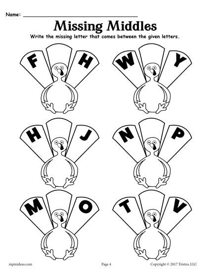 FREE Printable Thanksgiving Alphabet Worksheets - Fill in the Missing Letters: G, X, I, O, N, U! ABC worksheets like these are great for preschoolers and kindergartners to practice letter recognition and more. Get the FREE alphabet worksheets here --> https://www.mpmschoolsupplies.com/ideas/7837/missing-letters-worksheets-free-thanksgiving-themed-alphabet-worksheets/