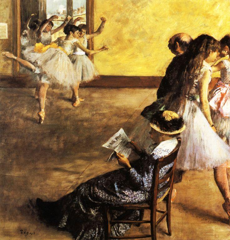 1880 - Classe de Ballet, salle de danse  Huile sur Toile  81,6x76,5 cm  Philadelphia, museum of Art. Edgar Degas.