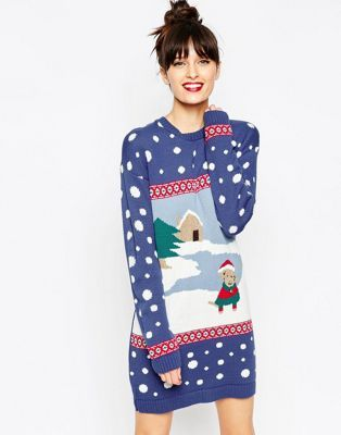 ASOS Christmas Jumper Dress With Winter Dog Scene