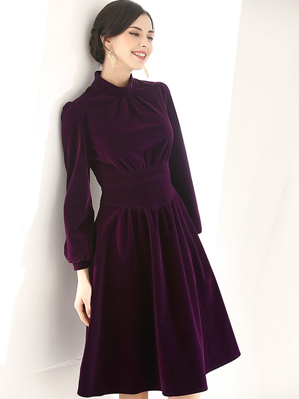 98d2a86324f7 Deep Purple Puff Sleeve Velvet Midi Dress