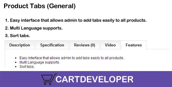 awesome Download Product Tabs (General) for OpenCart