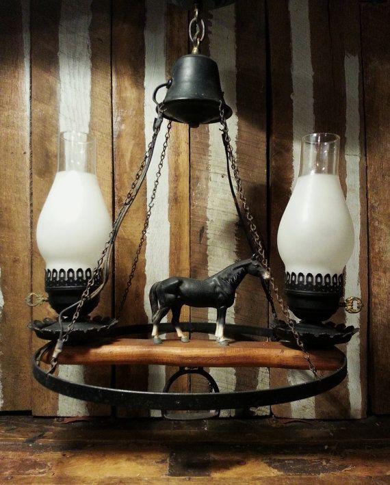 Vintage Rustic Western Farmhouse 2 Light Wagon Wheel Cast