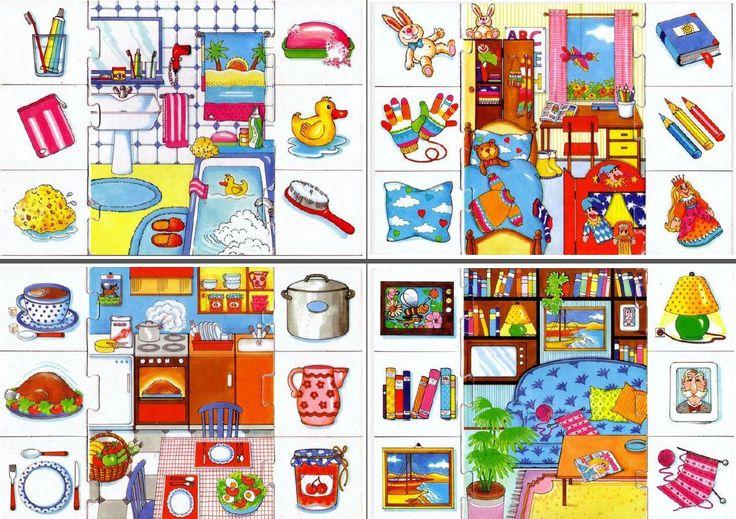 4 puzzles de las partes de la casa