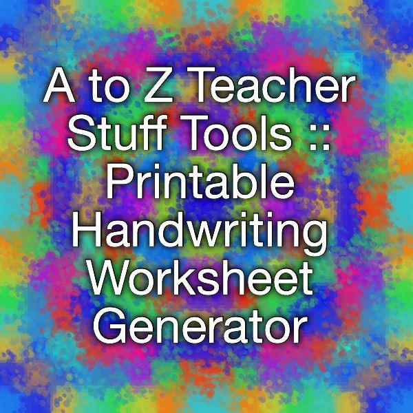 A To Z Teacher Stuff Tools Printable Handwriting