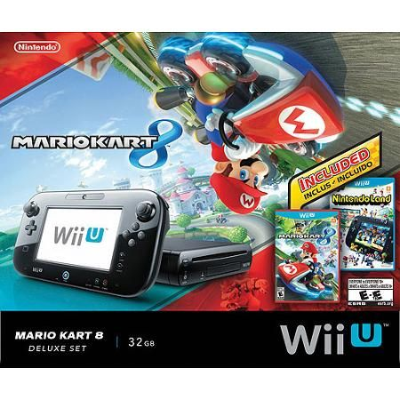 CB - Nintendo Wii U + Mario Kart 8 + Nintendo Land Deluxe 32 GB Console Bundle - Walmart Exclusive. The Wii U is pretty awesome, games you want include: Super Smash Bros. Wii U, Hyrule Warriors, and Wii Fit U, for starters. We can play online together, too! Plus, you can still play all your original Wii games on the Wii U. I did get a sick deal on this bundle on Black Friday, but you might not want to wait a year to hop on this ;)