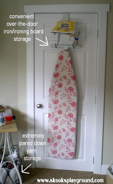 """Since my """"dressing room"""" is turning into a little person's room in May I need new storage for our ironing board."""
