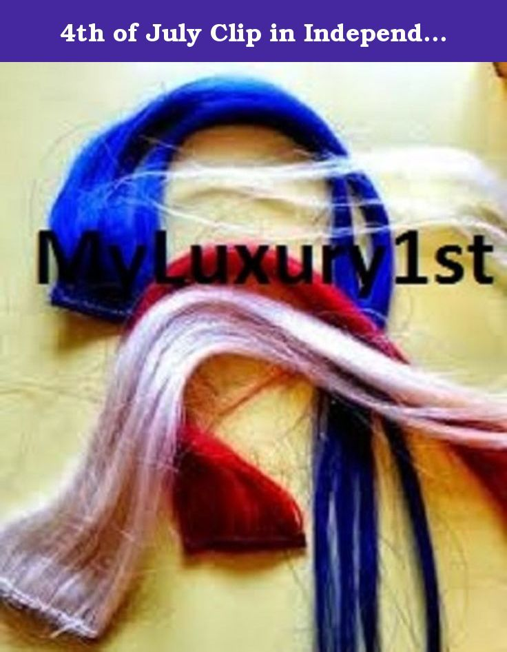"4th of July Clip in Independence Day Hair Extension Peekaboo Streaks Red Blond & Blue. You get three 19-20"" long pieces, that are 1"" wide each. A bright Red, blue and blonde [the blonde hair extension takes the place of the white color] extension streak.s Wear one or wear them all! 100% human hair and hand made in the USA by Myluxury1st."