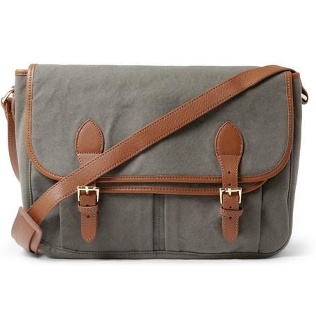 ++ leather & cotton canvas messenger bag