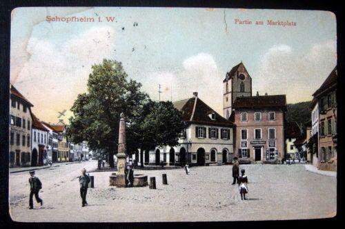 Germany-1909-SCHOPFHEIM-i-W-Partie-am-Marktplatz