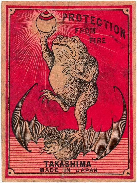 What is going on here?... Jumbo-size Japanese matchbox label, circa 1920