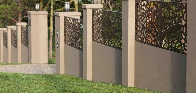 Gard stalpi beton panouri otel perforat