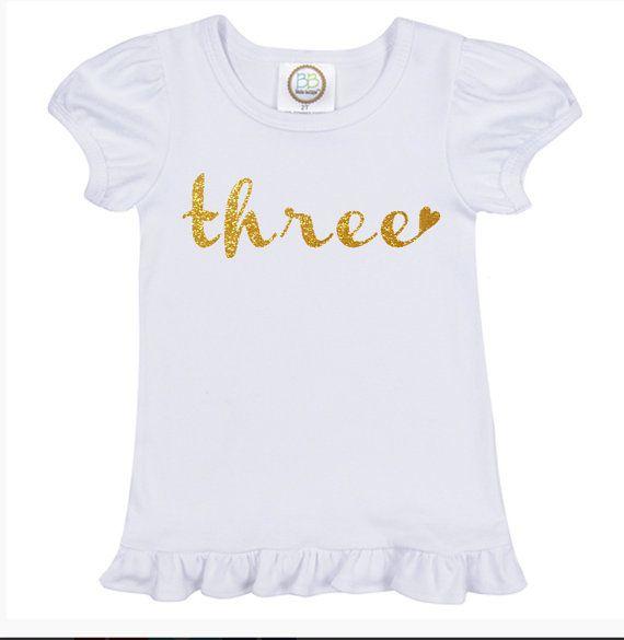 Terzo compleanno camicia, camicia di compleanno della ragazza del bambino, vestito di compleanno, girando 3, tre anni vecchio, 3rd Birthday camicia, 3 anni vecchio, compleanno Top