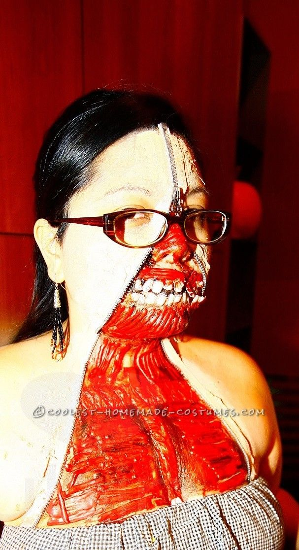 Scary Homemade Zipper Face Costume.. This website is the Pinterest of costumes