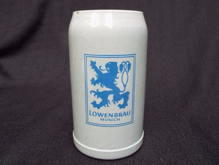 LOWENBRAU BEER STEIN, Stoneware Salt water Glaze Beer Mug, Munich 1L Ht7in