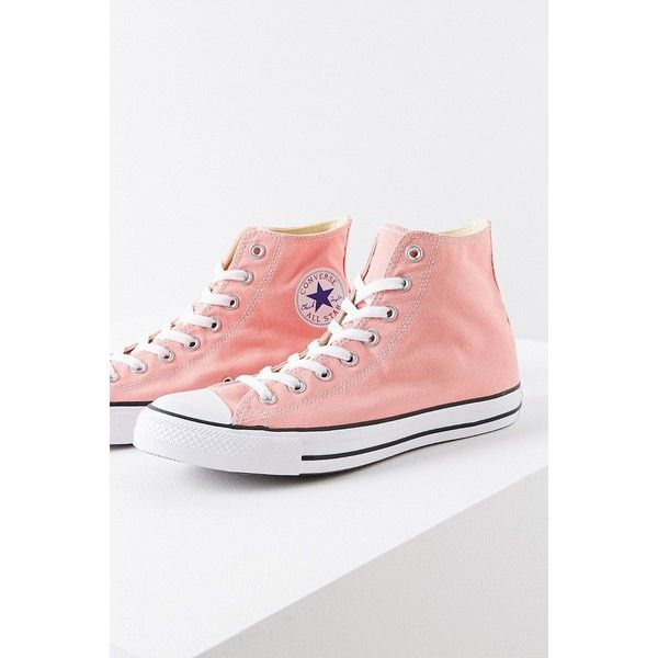 Converse Chuck Taylor All Star High Top Sneaker ($60) ❤ liked on Polyvore featuring shoes, sneakers, converse sneakers, pink high tops, hi tops, converse high tops and star sneakers