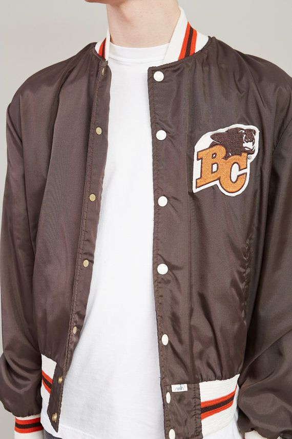 1970s BC Lions Brown Nylon Windbreaker Bomber Jacket / Coat
