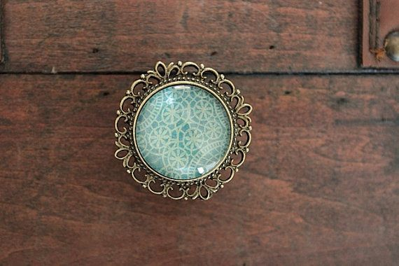 Brass Drawer Knob Recollection Series Nr. 04 Turquoise Geometrical Shapes on Etsy, £4.37