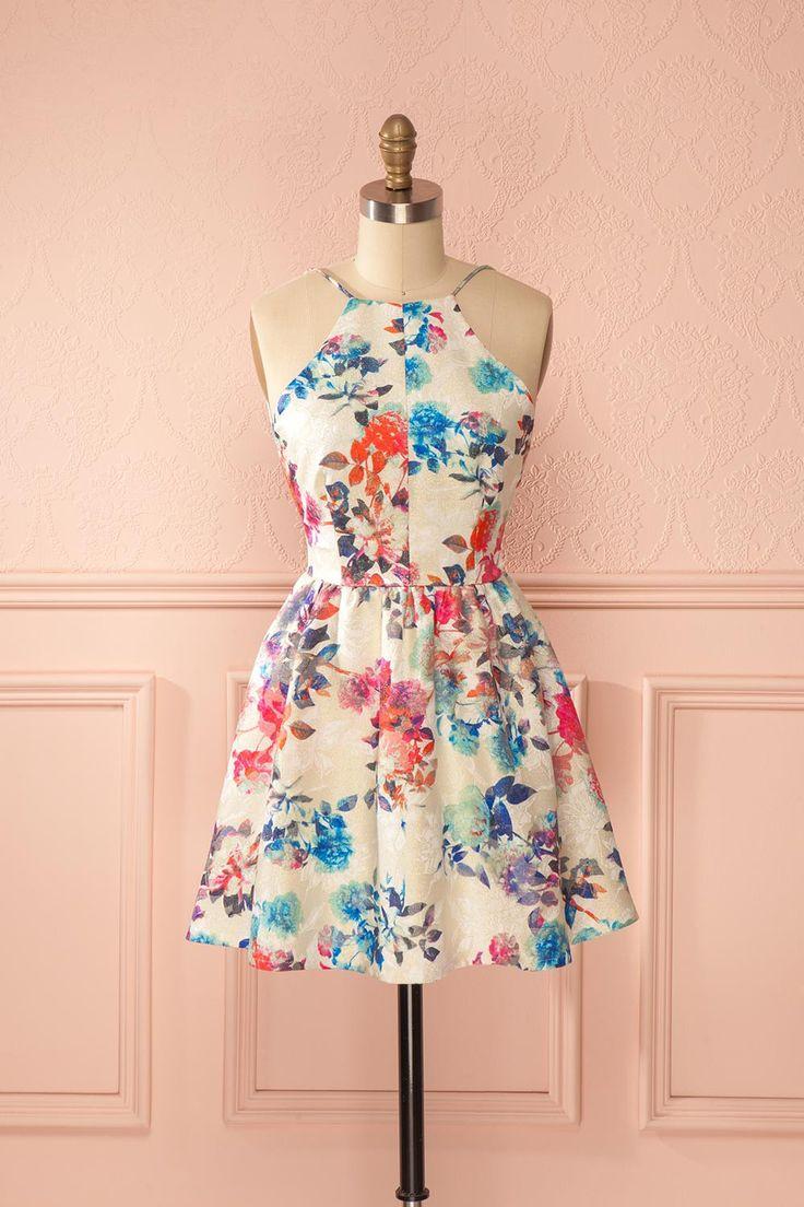 Robe trapèze dos ouvert scintillante imprimé fleurs colorées - Colorful flower print glimmering a-line open-back dress