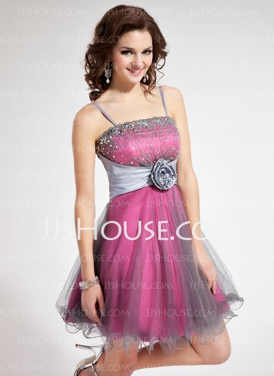Homecoming Dresses - $126.99 - A-Line/Princess Short/Mini Taffeta Tulle Homecoming Dress With Lace Beading Flower(s) Sequins (022010074) http://jjshouse.com/A-Line-Princess-Short-Mini-Taffeta-Tulle-Homecoming-Dress-With-Lace-Beading-Flower-S-Sequins-022010074-g10074