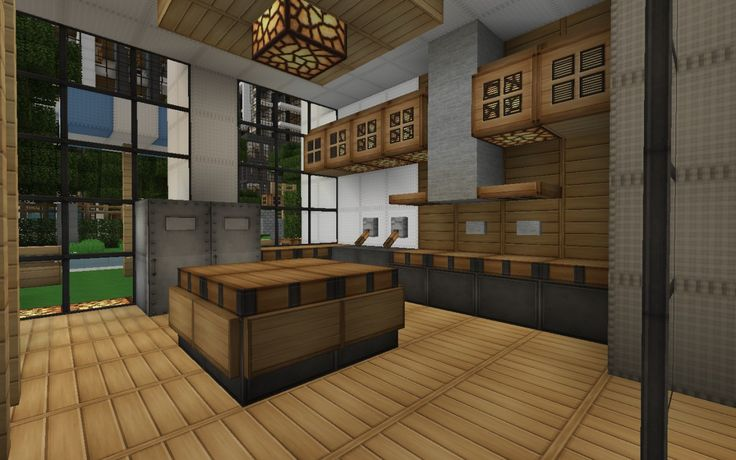 Minecraft modern house kitchen google search minecraft for Awesome warehouse kitchen design