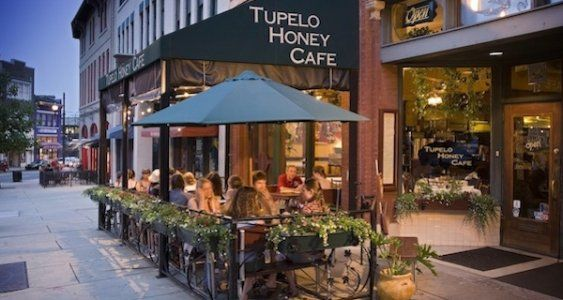 The Tupelo Honey Cafe is one of the coziest, most delicious eating spots in Asheville, NC. I'd love to wear this chino outfit while exploring downtown.